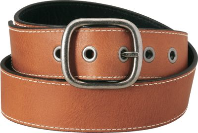 Full-grain pebble-textured leather reverses from tan to black. The tan side is accented by white stitching; black side has black stitching. Antique-nickel buckle with matching grommets. Imported. Width: 1-1/2. Sizes: S-2XL. Color: Tan/Black. Size: Small. Color: Tan/Black. Gender: Female. Age Group: Adult. Material: Leather. - $4.88