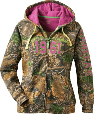 Hunting Bright, bold patterns and prints make this varsity hoodie even more enjoyable to show off. The full front zipper makes it easy to put on and take off, and ribbed cuffs and hem provide the perfect fit to keep warmth in and cold out. 100% cotton hood lining. Handwarmer pockets. 60/40 cotton/polyester knit fleece. Imported. Center back length for size M: 27. Sizes: S-2XL. Colors: Glacierbay Digi Camo, Realtree APC (Pink), Seclusion 3D Size: Medium. Color: Realtree Apc Pink. Gender: Female. Age Group: Adult. Pattern: Camo. Material: Polyester. - $24.99