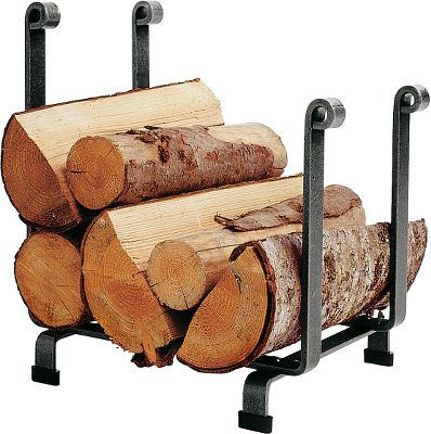 Keep logs and kindling in a neat and organized stack next to your fireplace or wood-burning stove. This hand-wrought rack features a clean, traditional design, with hand-forged rolled ends and arches, hammered-steel finish and protective acrylic coating. Superior hot-rolled-steel construction with a five-year limited warranty. Made in USA. 18L x 13W x 19H. - $114.99
