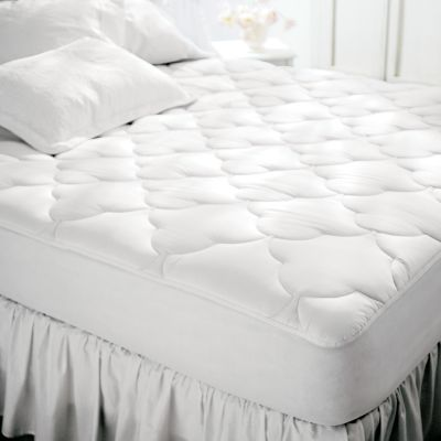 Entertainment This mattress pad is crafted of the long fibers of 100% Egyptian cotton. These fine yarns create a fabric with a natural softness and durability thats nearly unbeatable. Double-filled with bonded polyester padding, the Restful Nights diamond-quilted top adds luxurious comfort to your sleep. The StretchKnit spandex skirt holds it firmly in place. Fits mattresses up to 22. Machine washable. Imported.Sizes: Twin 75L x 38WFull 75L x 53WQueen 80L x 60WKing 80L x 76W - $59.99