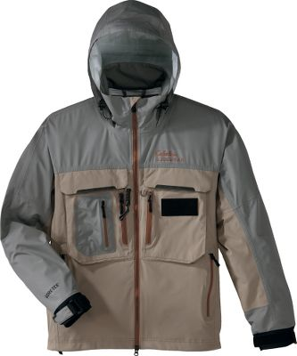 Flyfishing Hard-core fly-fishing anglers dont stay home when the weather turns. They battle the wind and rain with their mind set on one thing catching fish. The 75 denier polyester shell with GORE-TEX laminate sports a durable waterproof finish for an impenetrable barrier protecting you from heavy wind and rain. GORE-TEX-taped seams ensure theres no seepage. Durable bonded seams and pockets wont tear. Cord-lock-adjustable hood and sweep. Spandex interior cuffs. Mesh interior pocket. Imported.Sizes: S-5XL.Colors: Halibut, Sandy Brown. - $139.99