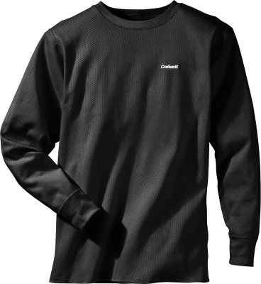 Hunting Nothing feels quite as soft and comfortable as cotton, and this 9.5-ounce ringspun 100% cotton knit crew neck will be your base layer of choice when the temperatures plummet. Theyll last longer than other brands because theyre made with low-shrinkage fabric and have reinforced stitching. Youll also stay warmer because of the ribbed knit on the cuffs and neck. Tagless neck label. Imported. Sizes: M-3XL. Color: Natural, Black. Carhartt Style No.: K228. Type: Base Layer Tops. Size: Small. Color: Black. Size Small. Color Black. - $29.99