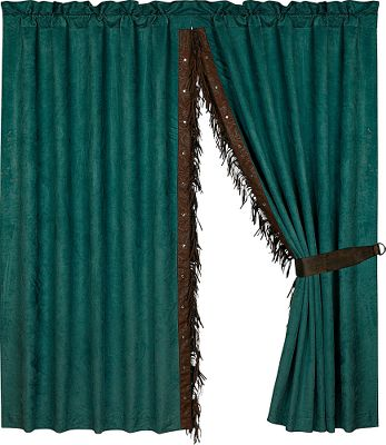 Entertainment A perfect match to the Del Rio Bedding Collection. These faux-leather rod-pocket drapes are accented with studs and fringe. Crafted of polyester. Per panel. Imported.Dimensions: 48H x 84W. - $89.99