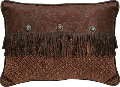 Entertainment Perfectly accent your Del Rio Bedding Collection with tweed and faux-leather pillows. Crafted of polyester. Imported.Available: Envelope Pillow Faux-leather flap with fringe and conchos accents the light brown tweed.Dimensions: 16H x 21W.Neckroll Comfortable tweed accented with soft faux leather.Dimensions: 8H x 21W. - $44.99