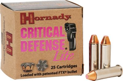 Entertainment Hornady Critical Defense is now available in a lower-recoil load made especially for small, lightweight handguns. In defensive situations a faster follow-up shot can make all the difference. This also allows for more practice at the range with the load that you plan on defending yourself with. This load gives you the confidence that Hornady ammunition is known for, for all shooters. Per 25. Hornady will donate a portion of Critical Defense Lite sales to breast cancer research. Type: Centerfire Handgun Ammunition. - $22.99