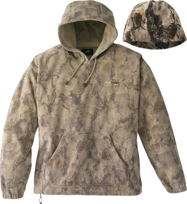 Hunting Put the exceptional warmth and whisper silence of fleece to work for you on your next hunt. This hoodie is perfect as an outer layer on brisk days or as an extra layer during frigid hunts. Comes with a matching fleece watch cap. Imported. Sizes: M-3XL. Camo patterns: NaturalGear, NaturalGear Snow. - $18.88