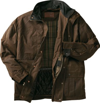 For nearly three decades, Outback Trading has been an industry leader in oilskin apparel, and this premium, 3/4-length jacket continues this tradition of quality. This rugged jacket is crafted of waterproof, 12-oz. cotton oilskin, so you know it delivers top-notch protection against wind and rain. The stylish top collar and adjustable cuff tabs are made of soft nubuck leather. The quilted plaid lining above the waistline adds a soft layer of warmth. The smooth taffeta lining below the waist and inside the sleeves lets you slide it on and off with ease. The two-way zipper and snap-over storm flap keep gusting winds out. Multiple pockets and an inside concealment pocket. Imported.Sizes: M-2XL.Color: Bronze. - $34.88