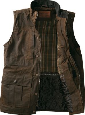 For nearly three decades, Outback Trading has been an industry leader in oilskin apparel, and the Hunters Creek Vest continues this tradition of quality. This rugged vest is crafted of waterproof, 12-oz. cotton oilskin, and its stylish top collar is made of soft nubuck. The quilted plaid lining above the waistline adds a soft layer of warmth, and the smooth taffeta lining below the waist adds comfort. The two-way zipper and snap-over storm flap keep gusting winds out. Multiple pockets and an inside concealment pocket. Imported.Sizes: M-2XL.Color: Bronze. - $59.99