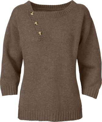 Entertainment Take on chilly days in this classic dolman-styled sweater fashioned with a modern flair. Premium wool blend and asymmetrical neckline offers an inviting feel. Fashionable faux-wood buttons and 3/4-length sleeves. Thick ribbing on cuffs, hems and collar. Heather-knit fabric is a blend of 55% wool, 30% nylon, 15% viscose. Imported.Center back length for size medium: 22.75.Sizes: S-XL.Colors: Weimaraner Brown Heather, Kodiak Blue Heather. - $44.88