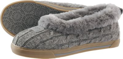 Entertainment Crafted out of 50/50 wool/acrylic, the classic cable-knit uppers surround your feet in lounge-ready style, and the natural softness, warmth and breathability of the genuine sheepskin linings boast unbeatable comfort. Vulcanized and durable rubber outsoles create stability and traction. Imported. Womens whole sizes: 6-10 medium width. Color: Heathered Grey. Color: Medium. Size: 6. Type: Slippers. Shoe Width: HEATHERED GREY. Type: Slippers. Size: 6. Shoe Width: HEATHERED GREY. Color: Medium. Size 6. Color Heathered Grey. Width Medium. - $100.00
