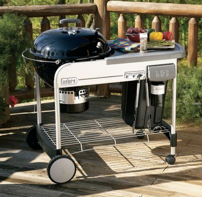 "Camp and Hike Say goodbye to messy lighter fluid. The Performer Grill makes starting your charcoal as easy as pushing a button. It features the Touch-N-Go gas ignition system that starts coals hot and fast, without the use of lighter fluid. The generously sized 22-1/2"" porcelain bowl houses a hinged, heavy-duty, plated-steel cooking grate. The hinged portion of the grate makes it easy to add extra charcoal from the weather-protected CharBin charcoal storage container. The porcelain lid has a glass-reinforced nylon handle and a dual-purpose thermometer. The lid is held open by the convenient Tuck-Away lid holder. The Thermoset work table provides a cool, spacious platform to prepare food. Three tool hooks put your cooking utensils within easy reach when the food is sizzling. The effortless One-Touch cleaning system empties into a convenient, removable aluminum ash catcher. Crackproof, all-weather wheels and locking casters. Rugged steel frame. Ignition system runs for up to twelve 10-minute ignitions using disposable 14.1- or 16.1-oz. LP cylinders. Dimensions: 40""H x 50-1/4""W x 28-1/2""D. Weight: 100 lbs. - $329.88"
