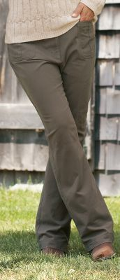 Entertainment Made of super-soft, 100% peached cotton, these pants feature a comfort waist for a perfect fit. Rivet-reinforced welt pockets and belt loops. Zippered pocket on left leg. Imported. Waist sizes: 4-18. Inseam: 32. Color: Hickory. - $9.88