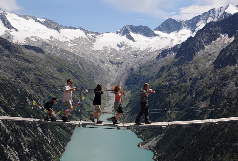 Camp and Hike Hanging Bridge in the Zillertal Alps