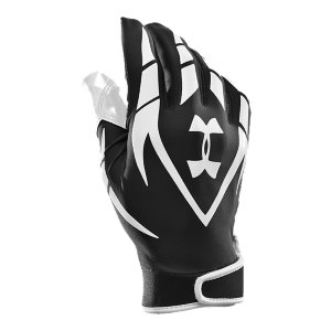 Sports Men's football gloves meet NFHS/NCAA football glove specs so you stay in compliance.  Full HeatGear(R) fabrication on top of hand wicks away moisture to keep hands cool and dry.  Armour(R) GrabTack palm and Rollover Armour(R) GrabTack thumb-our stickiest grip system for your best ball control.  Custom closure allows for a tailored fit and feel.  Customizable lockertag on each athletic glove's wrist cuff so no one grabs what's yours.  Recommended for football receivers.  Sold in pairs.  Imported. - $13.49