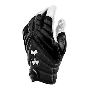 Sports Men's football gloves meet NFHS/NCAA specifications so you stay in compliance.  Lightweight, flexible perforated padding on glove back delivers breathability.  Signature Moisture Transport System wicks sweat away from hands to keep you dry and comfortable.  Armour(R) GrabTack, our stickiest grip system, on palms and thumbs deliver critical protection.  Athletic gloves feature secure hook-and-loop closure to ensure absolute wrist support and a custom fit.  Pass-blocking pad puts protection between you and the rush.  Lockertag on wrist cuff can be customized with jersey number so no one grabs what's yours.  Gloves come in pairs.  Imported. - $20.99