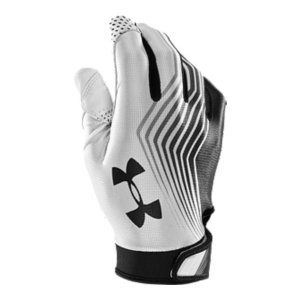 Sports Football gloves meet NFHS/NCAA specs so you're in compliance.  Lightest glove in the game; breathable blade mesh keeps your hands cool and dry.  Single-piece construction provides a performance fit without distraction.  Armour(R) GrabTack palm and roll over GrabTack thumb is the stickiest grip in the business and improves your ball control.  Anatomic angled wrist closure for improved range of motion.  UA Blur fade design for a clean and fast look.  Printed illusion fade design in palm puts style at hand.  Sold in pairs.  Imported. - $39.99