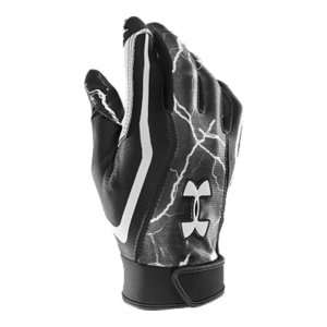 Sports Meets NFHS/NCAA specsLightweight, breathable fabric featuring UA's signature Moisture Transport System wicks away sweat, keeping your hands cool and dry so you can focus on your gamePrecision fit delivers comfort, mobility, and support as your game heats upArmour(R) GrabTack palm with roll-over GrabTack thumb ensures this football glove will give you superior ball control from practice to game dayCustomizable lockertag allows you to add your name or number so no one grabs what's yoursPrinted lightning design and UA logo add a little UA performance styleSold in pairsImported - $29.99