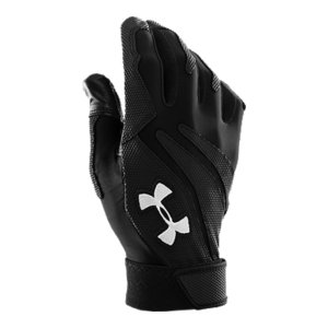Sports HeatGear(R) on back of hand adds superior moisture management and 4-way stretch.  Textured synthetic overlays add support, structure, and grip without losing flexibility.  Goatskin leather palm delivers soft comfort without sacrificing grip and durability.  Palm side finger perforations provide breathability and allow sweat to escape your baseball gear.  Contoured wrist closure ensures a comfortable, custom fit.  Internal locker tag so your gear doesn't walk.  Sold in pairs.  Imported. - $14.24