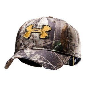 Hunting Camo cap features ultra-lightweight construction that enhances comfort and breathability.  Built-in internal sweatband helps keep you dry, even when you're sweating bullets.  Hat has adjustable back closure for total custom fit.  Frayed visor and distressed UA logo patch give it that worn-and-rugged look.  Men's one size fits all.  100% Polyester.  Imported. - $24.99