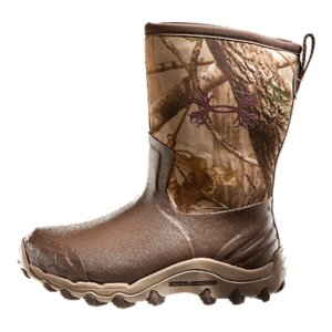 "Hunting Protection for rough terrain, comfort for the tree stand. The H.A.W (Hurry-Up And Wait) is built for the hunter who is undeterred by the elements. These boots are built with waterproof neoprene rubber and an air-mesh lining for breathability, ensuring your boots stay dry inside and out. For a chafe-free fit, we use a heel-lock memory foam that conforms to your feet for a custom fit. Wrapped in a high-abrasion rubber rand and durable mud-shedding tread, you have all-around protection. UA Hunt's innovative design, athletic performance hunting boot. Hunters need focus as much as any other serious athlete. And UA knows focus. Everything we build lets athletes think less about their gear and more about their game. We do the same for hunters-all the way down to the boots. We developed the H.A.W. (Hurry-Up And Wait) to match traditional performance with innovative materials. It's a hunting boot built for the treestand, so comfortable you may forget you're wearing them. Full neoprene rubber upper is 100% waterproof, lightweight, and durable to provide the best protection in a stormTechnical air-mesh lining increases airflow and wicks sweat to keep your foot dry and lightInternal heel lock memory foam forms to your foot for a secure, customized fitAggressive traction outsole composed of high-abrasion rubber is engineered to grip, while dropping mud and debrisDurable high-abrasion rubber textured toe rand protects your foot from hazards in rough terrainDurable EVA midsole provides lightweight cushioning and shock absorption, protecting your foot in any terrainMolded OrthoLite(R) footbed is designed with a memory foam top and high rebound foam bottom, for a customized, comfort fitHeavy-duty webbing back pull is durable and provides easy on/offHeight: 11 1/8""Weight: 31 oz.Imported - $94.99"