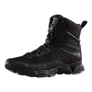 "Fitness One of our most popular boots for police and military, UA's Valsetz takes the comfort of a shoe and layers it with the durability of a trail boot for a unique hybrid. The durable, water-resistant lightweight mesh, is wrapped in a high-abrasion rubber rand to keep your foot safe from rocks and the elements. To keep you on the move, these boots also feature our signature UA sole technologies: ArmourBound(R) for responsive cushioning, ArmourGuide(R) for supportive guidance, and ArmourLastic(R) for shock absorption. The Valsetz is built for speed while remaining tough, hard-wearing, and comfortable enough for long days in the field. Our police and military customers had a problem. They needed a boot that was durable and rugged enough to put up with all terrains, but light enough for speed and maneuverability. UA took up the challenge, designing an athletic-shoe-tactical-boot hybrid. What you get is a boot we are proud to get positive feedback about...from the streets of Chicago to the hills of Afghanistan. Lightweight, water-resistant mesh upper remains durable and breathable, for superior comfort Fully contoured, compression-molded EVA midsole cushions your foot, without adding excess weightArmourGuide(R) ensures efficient foot-strike guidance from impact to propulsionArmourBound(R) delivers superior, responsive cushioning ArmourLastic(R) absorbs shock at critical impact zones in the heel and forefoot for maximum protectionMolded OrtholiteA(R) sockliner cushions your foot and keeps your foot locked inRubber outsole is engineered to grip on- and off-roadTextured, high-abrasion rubber toe rand protects your foot Speed-lacing shanks on the upper, for easy on/off without sacrificing a secure fitHeight: 7""Weight: 16.1 oz. - $82.99"
