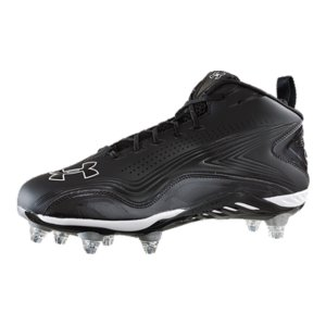 Fitness 3/4-cut detachable football cleats to adapt shoes to changing field conditionsBold and sleek material feels smooth and gives comfort all game longMolded 4D Foam(R) conforms to your foot's exact shape to stop slippageLiquifide(TM) supportive layer in the footbed reduces cleat pressure so you can focus on the field, not your feet7-stud cleat plate delivers lightweight performance and traction in even the roughest playing conditionsDual UA logos say these cleats do more than just look sharp-they performWeight: 14.5 oz.Imported - $54.99