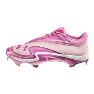 Sports These cleats support the Power In Pink program-a portion of all proceeds are donated to national breast cancer charities and medical centersUA is the Official Performance Footwear Supplier of MLBRe-engineered Rotational Traction Technology sets extra-wide UA Fang(TM) spikes in a circular 6-3 configuration to boost speed, power, and torqueUppers made from durable patent leather and nubuck for great style and durable performanceSuper-light Micro G(R) ultra-responsive cushioning delivers low-profile stability and comfort4D Foam(R) insole forms to foot to minimize foot slippage and absorb shockRigid ArmourGuide(R) TPU outsole prevents foot from twisting and rolling from side to sideWithout adding extra weight, UA Fang(TM) Spikes put 20% more surface area between you and the ground so you explode to top speed faster - $67.99