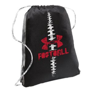 "Entertainment Sport-specific graphics show your team prideEasy-cinch sackpack drawcords double as shoulder straps so you can grab your gear and goUA-branded foam cords add extra comfort and swaggerDimensions: 18"" x 14"" x 1.5""Imported - $14.99"