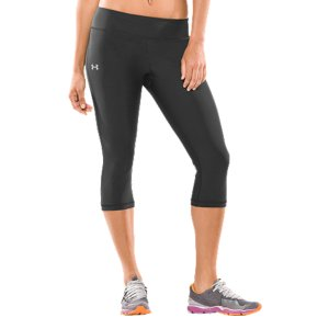 "Fitness Our Women's HeatGear(R) Lunge 17"" Capri pants deliver the fit and performance you've come to expect from Under Armour(R). Built to crush any obstacle, UA's signature compression fit hugs your muscles to keep you primed and help prevent injury. Our HeatGear(R) fabric wicks moisture to keep you dry, and our anti-odor technology fights odor-causing microbes to keep you fresh. Throw in a wide waistband for extra coverage, and you've got the pants that power through just about anything. Super-snug UA Compression fit delivers more muscle power while decreasing recovery timeLightweight, 4-way stretch fabrication improves range of motion and dries fasterAnti-odor technology prevents the growth of odor-causing microbes to keep your gear fresher, longerSmooth flatlock seams prevent chafing no matter how hard you workWide waistband delivers a smoother, more streamlined silhouetteHidden key pocket in back waistbandBrushed matte finish delivers a clean, classic look17"" inseam hits a few inches below your kneePolyester/ElastaneImported - $37.99"