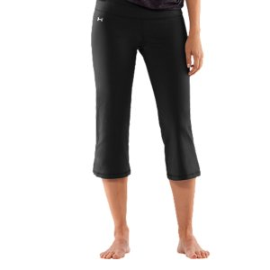 "Fitness WHY WE MADE IT? Studio athletes are demanding. They need gear that stretches big. Moves seamlessly. Creates a smooth silhouette in any position. And looks just as good on the street as it does on the mat. So we set out to create one great cross-functional pant that not only fit perfectly, it performed better than anything else out there. And the UA Perfect Collection was born. Everything in this collection boasts our 4 pillars of perfection. A smoothing 2-piece waistband, slimming seam placement, the perfect rise, and an elongated ""strut gusset"" for optimal fit. Running errands or running through your asana sequence, this collection truly the perfect answer for every activity. Our UA Perfect Capri is built from a soft fabric with superior stretchiness. So you'll never have to fight against your gear while flowing through positions. You move as seamlessly as it fits. Our signature 4-way stretch construction and sweat-wicking Moisture Transport System accelerate dry-time so you're never weighed down or wet-even after Bikram. Add in our odor-eliminating, anti-microbial technology, and you've got your new essential studio gear. Fitted for a sleeker, smoother silhouette and just the right amount of supportSuper-soft, brushed fabric has a matte finish for a clean, classic lookRelentless coverage for a solid fit no matter whatSignature HeatGear(R) fabric regulates core temperature and wicks sweat to keep you cool, dry, and lightWide, 2-piece waistband prevents bunching, bulging, and that annoying roll-overAdvanced seam placement shows off your curves Rise sits just right on your hips for a more flattering fit and feel in your  caprisAnti-microbial ""strut gusset"" construction fits just right and never looks too tightWaist pocket fits your MP3 player, keys, or cash21"" inseamNylon/ElastaneImported - $29.99"