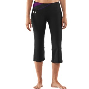 "Fitness Super-soft, brushed UA Perfect fabric delivers incredible comfort in and out of the studioSignature Moisture Transport System wicks sweat to keep you dry and lightLightweight, 4-way stretch construction improves mobility and accelerates dry timeFitted for a sleeker, smoother silhouette and just the right amount of supportWide, pop-color 2-piece waistband prevents bunching, bulging, and bothersome roll-overAdvanced seam placement shows off your curvesRise sits just right on your hips for a more flattering fit and feelAnti-microbial ""strut gusset"" construction fits just right and never looks too tightHidden media pocket fits your MP3 player, keys, or cash20"" inseam Polyester/ElastaneImported - $44.99"