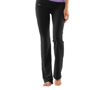 "Fitness Yoga pants built taller with a 35.5"" inseam.  Super-soft, brushed UA Perfect fabric delivers incredible comfort in and out of the yoga studio.  Relentless coverage for a solid fit no matter what.  Signature Moisture Transport System wicks sweat to keep you dry and light.  Lightweight, 4-way stretch construction improves mobility and accelerates dry time.  Fitted through the hips and thighs with a slightly flared hem for a seriously flattering silhouette.  Wide, pop-color 2-piece waistband prevents bunching, bulging, and bothersome roll-over.  Advanced seam placement shows off your curves.  Rise sits just right on your hips for a more flattering fit and feel.  Anti-microbial ""strut gusset"" construction fits just right and never looks too tight.  Hidden media pocket fits your MP3 player, keys, or cash.  Polyester/Elastane.  Imported. - $38.99"