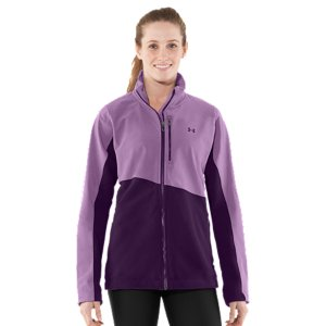 Fitness Your shoulders, chest, and outer arms take the biggest hit when Winter winds start whipping. Luckily, our Women's Muroc Jacket practices zone defense. The upper half is a dual layer of durable, wind-resistant fabric. The lower half, plush 200-weight fleece to trap and circulate body heat. The result? A sleek, lightweight jacket that keeps you warm and wicks away sweat to keep you dry. Killer style is only ever half of the UA equation. As this jacket proves, we also add innovation and performance to everything we build. Durable, wind-resistant softshell upper protects you from the elements200-weight fleece lower is soft to the touch and traps heat like a champ, for cold-weather comfortLightweight, 4-way stretch fabrication improves range of motion and dries fasterSignature Moisture Transport System wicks away sweat and keeps you dry and comfortableZippered hand and chest pockets for easy, secure access to your stuffBottom hem cinch offers a comfortable fit and ensures cold air stays outsideUpper: Polyester/ElastaneLower: 7.4 oz. PolyesterImported - $97.99