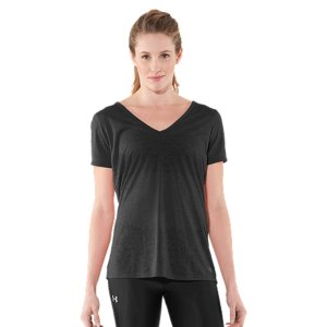 Fitness Soft, ultra-lightweight fabric delivers superior breathability and incredible comfortAllover burnout pattern for a semi-sheer finishLightweight, 4-way stretch construction improves mobility and accelerates dry timeSuperior Moisture Transport System wicks sweat and regulates core tempSlightly relaxed sleeves and body with a deep V-neck collar for a more feminine silhouettePolyester/ElastaneImported - $21.99
