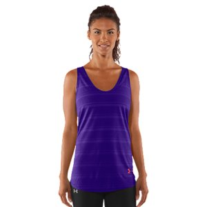 Fitness Soft and super lightweight poly fabric keeps you comfortable in and out of the gymLightweight, 4-way stretch fabrication improves range of motion and dries fasterSignature Moisture Transport System wicks sweat to keep you cool, dry, and lightTwisted T-back style for extra mobility and a little attitudeExtended length delivers extra coverage for when you're going really hardShaped hem for a more feminine silhouetteUnique burnout stripe pattern on front looks as cool as it acts4.1 oz Polyester/RayonImported - $21.99