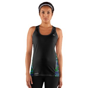 Fitness WHY WE MADE IT: When the sun's blazing, ordinary fabrics-especially dark ones-heat up quick, meaning you sweat harder, fatigue faster & lose focus. But not anymore. UA uses coldblack(R) technology, a revolutionary fabric that reflects even the nastiest heat. So whether you're running a marathon in the desert or just playing 18 holes in the summer heat, black out the sun...and stay cool, dry & protected. When you're born to run, nothing can get in your way-not even street melting heat. So we created the Women's coldblack(R) UA Run Tank to help keep you battle the blaze. The secret is coldblack(R)-a game-changing technology that reflects the heat of the sun-keeping you significantly cooler, safer, and more energized while running under the summer sun. Add in our odor-fighting anti-microbial technology, and you've got a running shirt that works just as hard as you do. Revolutionary coldblack(R) technology reflects heat and IR rays to keep you cooler than everBrushed poly fabric has a soft, sleek feel that delivers incredible comfort and performanceSuperior Moisture Transport System wicks away sweat to keep you cool, dry and comfortableLightweight, 4-way stretch construction improves mobility and accelerates dry timeUPF 30+ protects your skin from sun damage and premature agingSporty racer back design unlocks mobility and is perfect for layeringDroptail hem offers superior back coverage Printed mesh insets at sides for enhanced breathability360deg reflectivity provides extra safety for low-light runsBody: Polyester/ElastaneMesh: 4.7 oz Polyester/ElastaneImported - $39.99