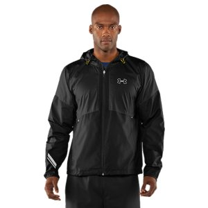 Fitness Miles in, you can't let the elements dictate your pace. UA Run built an ultra-lightweight rain-resistant jacket to fight back against Mother Nature. Strategically placed venting allows breathability without losing coverage and UA's Storm technology protects against water without adding weight. Add on all the run features you need to stay comfortable on the move. What you get is the best-in-class run protection. UA Storm gear uses a Durable Water Repellent (DWR) finish, which repels water without sacrificing breathabilityUltra-light woven fabric delivers tough wear without excess weightDrop mesh liner provides added breathabilitySignature Moisture Transport System wicks sweat away from the bodyStrategic venting provides airflow where you need it Graphics and logos provide 360deg reflectivity for safer low-light training 30+ UPF protects your skin from the sun's harmful raysHigh neck, 3-piece hood gives you superior coverage Shock cord and cord lock in hood and hem keep the elements outDrop hem provides extra coverage on the moveZipper garage to prevent irritationSecure side pockets Embossed top panelPolyesterImported - $55.99