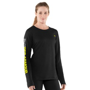 Fitness Made for some serious miles, our Women's UA Run Longsleeve is slim, super-breathable, and built to wick sweat for a lighter, more comfortable wear that resists feeling hot and heavy. Finished with hits of reflectivity for extra safety when the sun goes down, this shirt is the perfect answer anytime you want to hit the road. Updated UA Tech(TM) fabric has a softer, more natural feel for incredible all-day comfortSignature Moisture Transport System wicks sweat to keep you dry and lightLightweight, 4-way stretch construction improves mobility for full range of motionAnti-microbial technology keeps your gear smelling fresher, longerReflective linear speed graphic on backRUNDER ARMOUR graphic on sleeve4.0 oz PolyesterImported - $24.99
