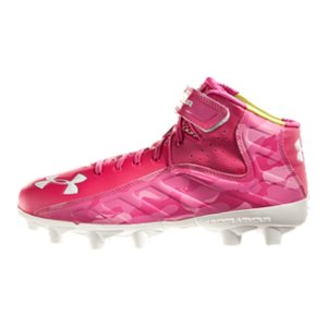 Sports Support UA Power In Pink(R) & perform at your best. Technical superiority matches grit in UA's fierce football cleats. Built for power. Part of our UA Power In Pink(R) CollectionUnder Armour(R) will donate a minimum of $500,000 to various breast cancer centers and charities through our UA Power In Pink(R) programUA Power Strap locks your foot in, providing superior support and stability through quick moves and brutal contactMicro G(R) cushioning delivers light, ultra-responsive, low-to-the-ground performance for better, natural stability, and comfortArmourGuide(R) protects against shearing forces at the midsole perimeter, keeping the foot stable all game longEngineered synthetic upper provides a bold look and unrivaled comfortFoot-forming 4D Foam(TM) footbed molds to foot for a locked in, comfortable, customized fit7-stud translucent TPU plate is designed for strength and superior traction on natural grass surfaces - $74.99
