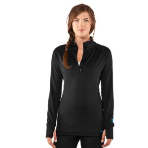 Entertainment Our Women's UA Base(TM) 3.0  1/4 Zip was made for athletes who don't shelter-up when it gets too cold. It's built from our updated negative grid fabric that traps heat in tiny pockets for all-day warmth and comfort. It also dries quick so you'll never feel wet or weighed down. Finished with raglan sleeves, smooth flatlock seams, and a super stretch construction-there's nothing holding you back from the hill. UA Base(TM) 3.0 is built for extreme coldNegative grid fabric traps heat in tiny pockets for long-lasting protection against the coldQuick dry construction wicks moisture to keep you drier, lighter, and more comfortableArmour Block(R) neutralizes odor-causing microbes to keep your gear fresher, longerLightweight, 4-way stretch fabrication improves range of motion and dries fasterRaglan sleeves and flatlock seams unlock mobility and eliminate chafing 1/4 zip collar for on-demand ventilation and easy layeringThumbholes keep sleeves secure and help seal in heatPolyester/ElastaneImported - $59.99