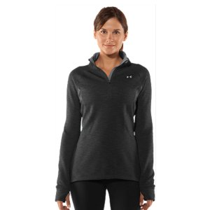 Fitness Thick and comfortable melange fabric delivers superior warmth and protectionSoft, brushed interior locks in heat for all-day warmth and comfortUA Storm technology repels water but stays soft & breathable for superior comfortSignature Moisture Transport System wicks sweat to keep you dry and lightLightweight, 4-way stretch fabrication improves range of motion and dries fasterErgonomic flatlock seams for a more flattering silhouetteThumbholes keep sleeves secure and help seal in your body heatDroptail hem offers superior back coverage Hidden zippered pocket to secure your stuff 1/2 zip front for on-demand ventilation and easy layeringPolyester/ElastaneImported - $66.99