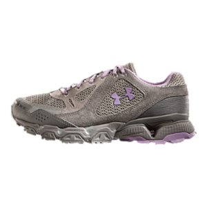 Fitness Taking your run off road changes the game, and you can't hope to make it through with traditional running shoes. The Women's UA Chetco II delivers the protection you need without the weight you don't. The durable mesh upper keeps out the branches and bugs, but remains breathable for cool, dry comfort. Lightweight sueded leather overlays keep your foot cradled for superior stability as you move over rough terrain. Aggressive traction on the blown carbon rubber outsole makes sure you grip the trail, while shedding mud and debris. A TPU toecap shrugs off hazards. We finish it all off with an OrthloLite(R) sockliner for a cushioned fit that lowers in-shoe slippage and rubbing. Trail running shoes tough enough for brutal terrain, but with the lightweight grip to help you race down a mountain. Lightweight, mesh upper provides durability and breathability for superior comfort Fully contoured, compression-molded EVA midsole cushions your feet without adding excess weightSueded leather overlays cradle foot to add stability and support when the trail gets rough Aggressive traction outsole, composed of high-abrasion carbon rubber, is engineered to grip, without building up mud and debrisTPU toecap protects your feet from the hazards of the trailSignature Moisture Transport System keeps your feet cooler and drierMolded OrthoLite(R) sockliner cushions your foot, providing unrivaled comfort on a punishing runImported - $79.99