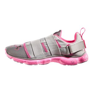 Fitness UA Power In Pink(TM) celebrates the women who use sports, fitness, and an active lifestyle in their fight against breast cancer. Join the fight along side these ladies by gearing up and going out in these unique super-lightweight, lace-free running shoes from our UA Power In Pink(TM) collection. Part of our UA Power In Pink(TM) CollectionUnder Armour(R) will donate a minimum of $500,000 to various breast cancer centers and charities through our UA Power In Pink(TM) programDue to the slimmer performance fit of these running shoes, we recommend going up a half size for optimal comfortUnique textile upper inspired by UA Compression apparel keeps your heel and midfoot locked in for a smoother, chafe-free rideModern lace-free closure offers a secure, consistent fit that eliminates pressure pointsThin, light Micro G(R) foam midsole turns cushioned landings into explosive takeoffsOutsole's ultra-durable, solid rubber pods provide added cushion and natural flexOrtholite(TM) molded sockliner delivers secure, slip-free comfort6.75 oz.Imported - $86.99