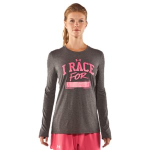Fitness UA Power In Pink(TM) celebrates the women who use sports, fitness, and an active lifestyle in their fight against breast cancer. Join the fight along side these ladies by gearing up and going out in these great pieces from our UA Power In Pink(TM) collection. Part of our UA Power In Pink(TM) CollectionUnder Armour(R) will donate a minimum of $500,000 to various breast cancer centers and charities through our UA Power In Pink(TM) programUpdated UA Tech(TM) fabric has a softer, more natural feel for incredible all-day comfortSignature Moisture Transport System wicks sweat so it dries faster than ordinary cottonLightweight stretch construction improves mobility for full range of motionCustomizable I RACE FOR graphic on front with She's A Fighter(TM) neck tapeWrite a name in the blank to show your support4.3 oz Polyester/RayonImported - $24.99