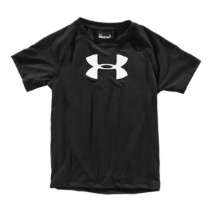 Fitness Stretchy, quick-dry Big Logo T-shirt. Tough enough for your preschool athlete. UA Tech(TM) fabric has a soft, natural feel for unrivaled comfort and performance4-way stretch fabrication allows greater mobility and maintains shapeSignature Moisture Transport System wicks sweat away from the bodyRaglan sleeve construction allows for full range of motion without chafingPolyester/ElastaneImported - $17.99