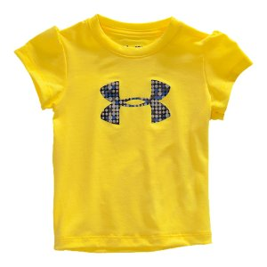 Fitness BABY ARMOUR(R) - Built for the next generation of athletes. Super-soft UA Tech(TM) fabrication feels natural and works like Under Armour(R)HeatGear(R) technology keeps her cool, dry, and comfortableLightweight, 4-way stretch construction moves when she doesSignature Moisture Transport System wicks away sweat to keep her dryGirly puff sleeves for extra styleHigh gloss gel big logo dot graphic with for a little athletic attitudeMachine wash cold, tumble-dry lowPolyester/ElastaneImported - $15.99