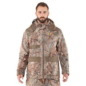 Hunting Born from endless hours in the blind, meet the ultimate waterfowl jacket. It's a 3-in-1 jacket with a zip-out vest and removable hood. Throw on the vest for warm days or zip it in the liner for the freezing cold. This is the only jacket you need for the whole hunting season, right here. Zip-out 100g Primaloft(R) vest provides versatility you can take into any conditionArmourStorm(R) fabrication is 100% waterproof with fully taped seams, keeping you completely dry and protectedWindproof materials and construction shield you from the elementsUA shooting shoulders have a grip surface to prevent your gun from slippingSignature Moisture Transport System wicks sweat away from the body Removable 3-piece, high-neck hood for superior protectionMagnetic chest pocket for callsCargo pockets and side-entry hand pocketsAdjustable outer cuffsNeoprene inner cuffsShell pocketsPolyesterImported - $194.99
