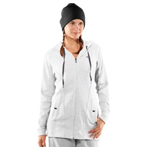 Entertainment The Wintersweet Full Zip Fitted Hoody features a new slimmer fit, more generous body length, and adjusted shoulder seams to give a fresh and flattering take on feminine athletic wear. Perfect for Winter jogs or weekend practices, the Wintersweet Full Zip Fitted Hoody delivers warmth without weighing you down. So say goodbye to the oversized bulk and bothersome bunching of other hoodies. It's about time you upgrade to the new go-to hoody for Winter. Heathered polyester ColdGear(R) sweater fabric feels soft and comfortable, but performs like UASoft, moisture-wicking construction regulates your core temp to keep you dry and comfortableThree-piece hood construction for maximum comfort and superior fitExtended body length for a more flattering feminine fitAdjusted shoulder seams provide superior comfortSide pockets built in for extra warmthWide, flat, ribbed waistband and wrist cuffs for comfort and fit9.7 oz. PolyesterImported - $74.99