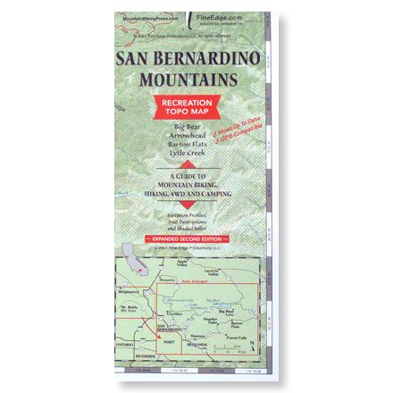 Camp and Hike Recreation map guides you to mountain biking, hiking and camping opportunities of Big Bear, Arrowhead, Barton Flats and Lytle Creek. Fine Edge Productions; copyright 2001. Two-sided map measures 36 x 24 inches open and 9 x 4 inches folded. Features elevation profiles, trail descriptions and shaded relief. GPS compatible. - $8.95