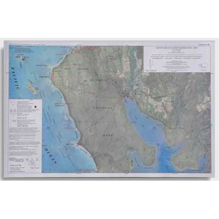 Camp and Hike This map features trail length and camping areas for the Ozette Beach Loop in Washington. - $1.93